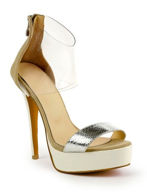 Kvinnors Stiletto Heel Patent Leather Peep Toe Platform Sandalsskor
