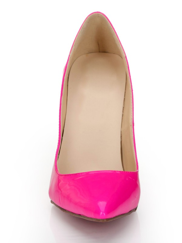 Kvinnors Patent Leather Fuchsia Closed Toe Stiletto Heel Högklackat