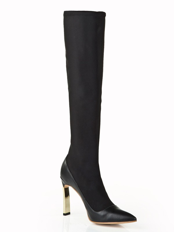 Kvinnors Elastic Leather Stiletto Heel med Pearls Knee High Svart Stövlar