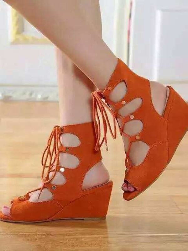 Kvinnors Wedge Heel Suede Peep Toe med Spets-up Sandal Ankle Orange Stövlar
