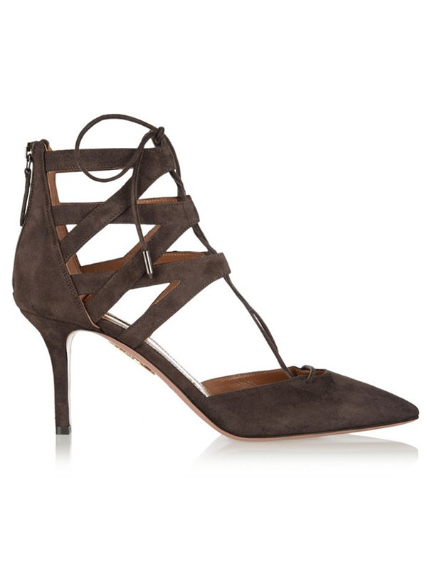 Kvinnors Suede Stiletto Heel Closed Toe med Spets-up Sandalsskor
