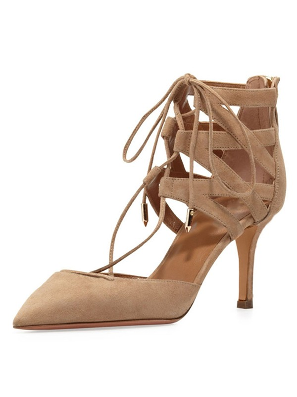 Kvinnors Stiletto Heel Suede Closed Toe med Spets-up Sandalsskor