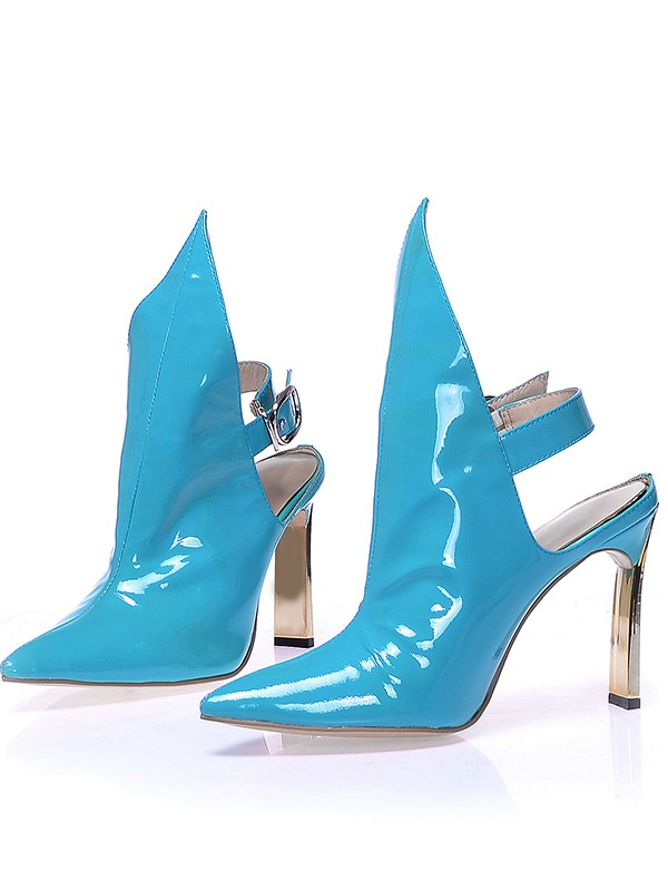 Kvinnors Patent Leather Closed Toe Stiletto Heel med Buckle Booties/Ankle Blå Stövlar