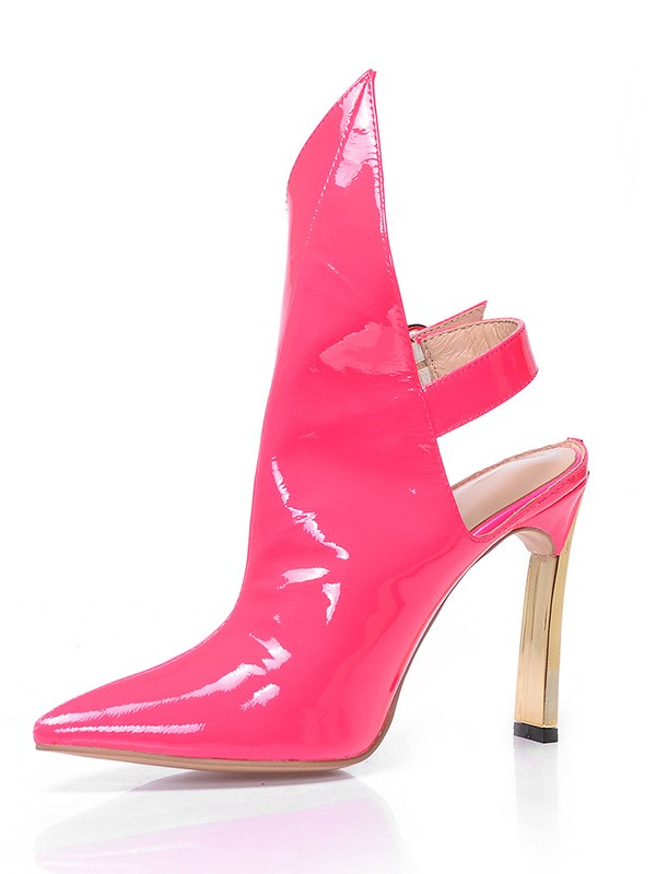 Kvinnors Patent Leather Closed Toe Stiletto Heel med Buckle Ankle Vattenmelon Stövlar